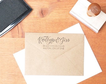 custom address stamp: for wedding invitations, brides, grooms, thank-you address, engagement, wedding gift