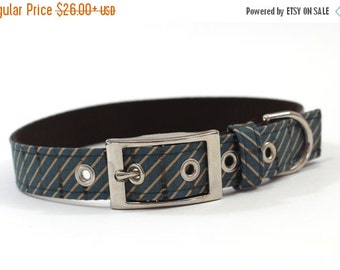 BIG Summer SALE Dog Collar with metal buckle- Blue and Tan Diagonal Stripes