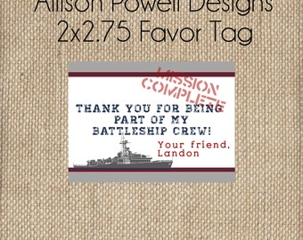 Battle Ship Military Navy, Army, Marines Birthday - Custom Printable  Favor Tags