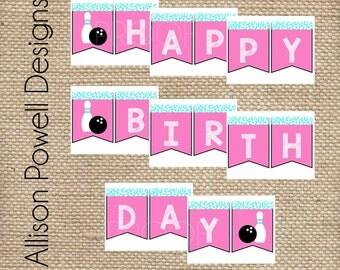 Girls Bowling Birthday Party Happy Birthday Banner
