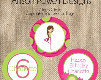 Yoga Birthday Party Invitation - Print your own -Girls Custom Invitation Bright Colors Birthday Party Birthday Party Cupcake Toppers