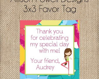 Yoga Birthday Party Invitation - Print your own -Girls Custom Invitation Bright Colors Birthday Party Favor Tags