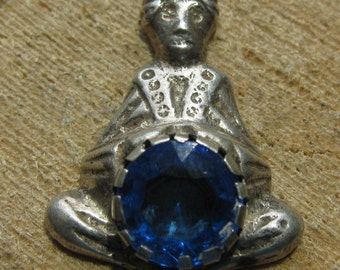 Vintage Sterling Silver Fortune Teller Pendant with Blue Topaz Stone  Men's or Women's Pendant