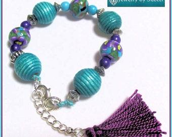 Turquoise Purple Tassel Bracelet, Her Tassel Bracelet, Her Boho Bracelet, Her Flower Bracelet, Beaded Bracelet, Hand Painted Clay Beads