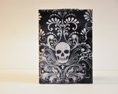 Passport Cover Passport Holder Sleeve Wicked Damask with Skull on Charcoal gothic goth