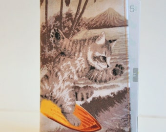 Passport Cover Sleeve Case Holder  Cotton Surfing Cat is Catching a wave - also available in pink and blue
