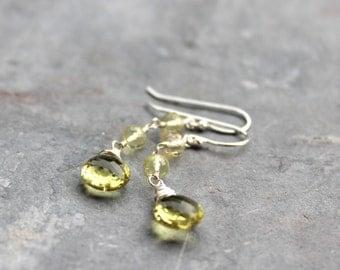 Lemon Quartz Earrings Sterling Silver Dangle Gemstone Earrings