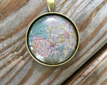 Europe Globe Pendant Necklace or Keychain France Spain Map World Travel Wanderlust Gift for Traveler