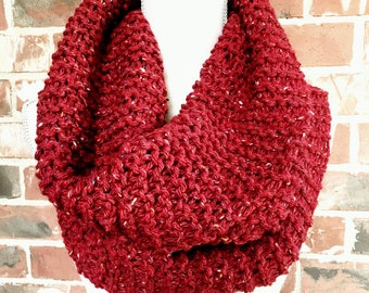 Red Tweed Classic Cowl Infinity Scarf Circle Scarf Chunky Knit Christmas Ready to Ship