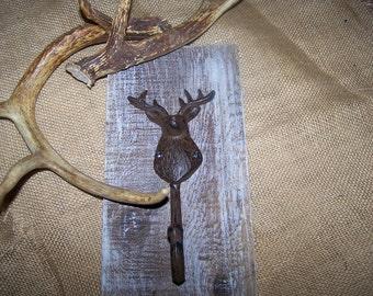 Rustic Reclaimed Barnwood with Rusty Deer Hook