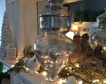 Chic Silver Mercury Glass Antiqued Finish Apothecary Jar