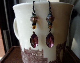 40% OFF SALE! - Amethyst Vintage Glass Navettes with Amethyst Chunk Bead Earrings