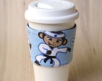 FINAL CLEARANCE Reversible Coffee Cup Sleeve - Karate Monkey Coffee Cozy - Ready to Ship