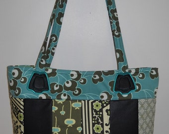 Amy Butler Fabric and Embroidered Leather Tote Bag