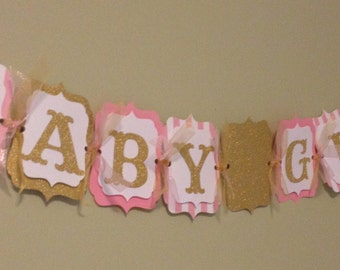 Baby Girl Shower Banner -Pink and Gold Glitter - Princess Baby Shower