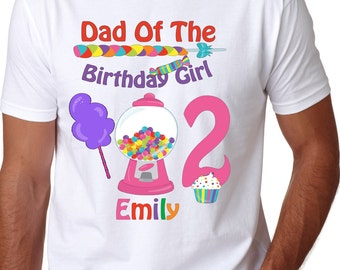 ADULT CandyLand Birthday Shirt - Candy Shirt -  Candy Personalized with name Shirt - Dad of the Birthday Girl Mom Aunt Uncle Brother Sister