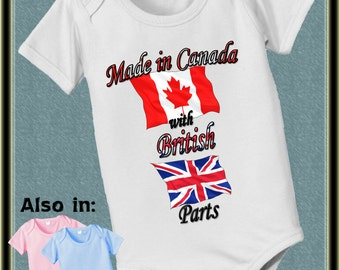 Made in Canada with British Parts Bodysuit - Canada Flag - UK Flag - Nationality Bodysuit - Flag Bodysuit - Proud to be - baby shower gift