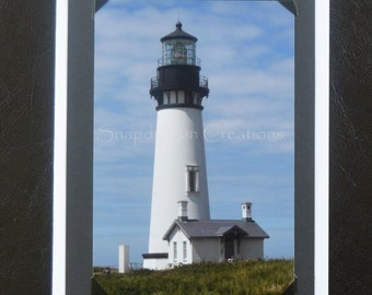 Photo Greeting Card, Yaquina Head Lighthouse in Newport OR, Blank Inside