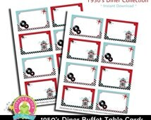 50s Diner Buffet Cards / 1950s Diner Party / 1950s Party Favors / Sock Hop Birthday / 1950s Birthday / 1950s Party Table / INSTANT DOWNLOAD