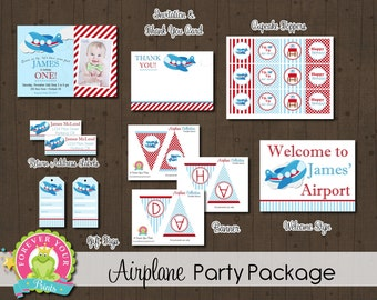 Airplane Party Package / Airplane Birthday Invitation / Airplane Party Invite / Airplane Party / Plane Invitation / Pilot Invitation