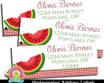 Watermelon Return Address Labels / Address Labels / Watermelon Birthday / Watermelon Party / Watermelon Party Favors / Watermelon Printable