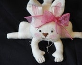 Easter Rabbit White Bunny small  doll Fabric Shelf Sitter pink bow