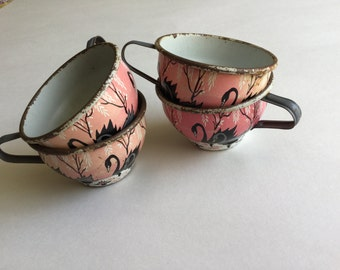 Four cups from vintage Swan tin child set-1950-litho-ohio art