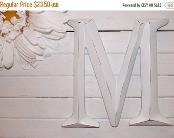 SUMMER SALE Large Letter M/ Capital Letter M/ Wall Letter / Initials / Photo Prop / Mantle / Wall Decor / Shabby Chic Decor