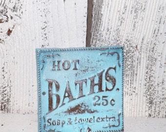 Bath Sign / Cast Iron Sign /Shabby Chic Bath Sign /Bathroom Hook  / Shabby Chic Decor/ Aqua