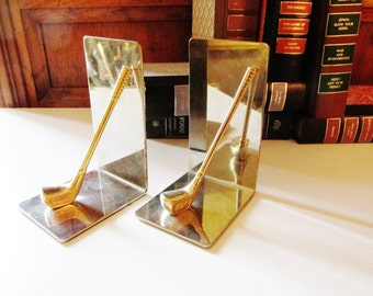 Vintage Golf Club Bookends, Brass Bookends, Home Office Decor, Gift for Him, Golf Collectible