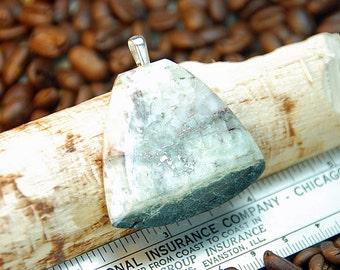 Keweenaw Prehnite and Copper Pendant