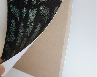 Lovely notebook with pine branches pattern painted with watercolor. Blank kraft paper pages inside. Diary, journal, sketchbook, planner.