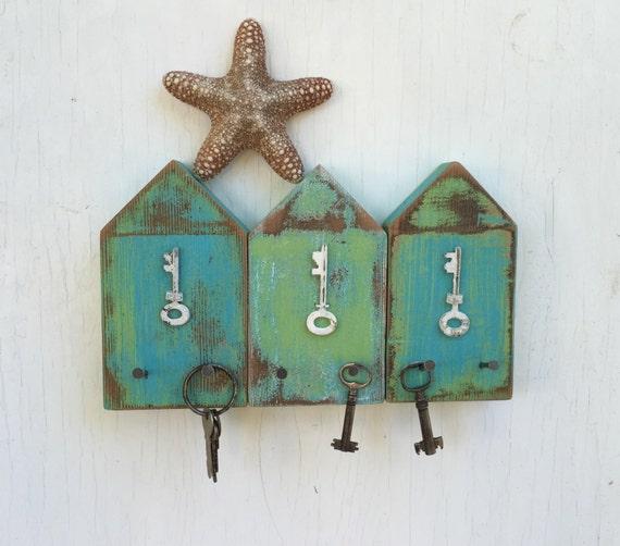 Beach Hut Key Jewelry Hook Rack Turquoise Blue White Lake