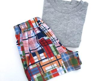 Boys summer shorts - Madras - Toddler Shorts - Cotton