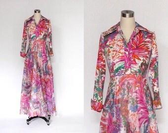 SALE // 1970s Don Luis de España Floral Gown // 70s Vintage Designer Full Length Shirt Waist Dress // Medium - Large