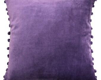 Purple velvet Pillow Cover with Purple Pom Poms