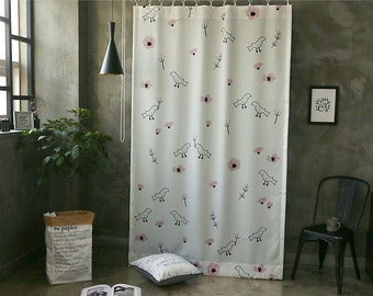 Birds & Pink Zinnia Black Out Wide Fabric Panel for Curtains (59 inches x 98 inches) 76429