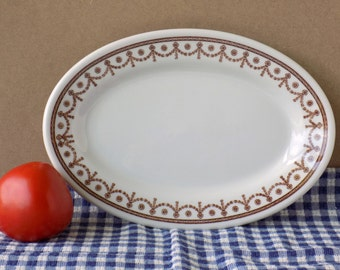 Brown and White Ironstone Platter. Restaurant Ware. Shenango China. Kitchen Decor. Serving Tableware. Country Cottage or Farmhouse Chic.
