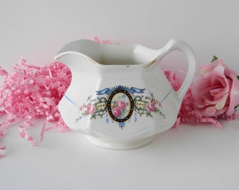 Vintage Floral Creamer or Serving Pitcher by Salem China. Pattern #SLM167. Replacement China. Tea Party Tableware. Shabby Cottage Style.