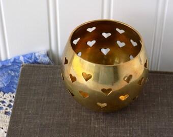 Brass Heart Votive, Tea Light or Candle Holder. Wedding Table Accent. Romantic Home Decor. Cottage Farmhouse Chic. Vintage Housewares.