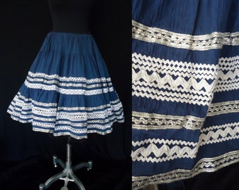 SALE Gauzy Blue Rick Rack Vintage 1950's Squaw Rockabilly FULL CIRCLE Skirt S - L