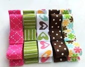 Pink Brown and Green Tuxedo Bow Hair Clip Set of Five Girl Alligator Clip Set No Slip Grip Ready to Ship