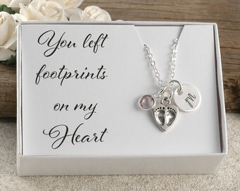 You left footprints on my heart, miscarriage, infant loss, memorial for baby, stillborn gift, birthstone and initial disc