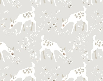 Clothworks ORGANIC Woodland Gathering Taupe Deer # Y2066-62 Free Shipping 1/2 Yard Cotton Fabric