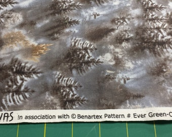 Kanvas Benartex Ever Green Fog Winter Trees Snow 1/2 Yard Cotton Quilting Fabric Free Shipping 5665