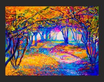 Autumn Landscape3 - Original Oil Painting 26x20  Landscape Painting Original Art Impressionistic Oil on Canvas by Ivailo Nikolov