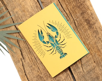 Paper Cut Card // Laser Cut Paper // Lobster