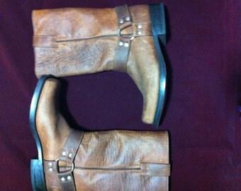 Vintage MILLER Cowboy Collection leather boots/Men Boots sz mx 28/Brown leather boots/Durango Mens Brown Leather Biker Harness Cowboy Boots
