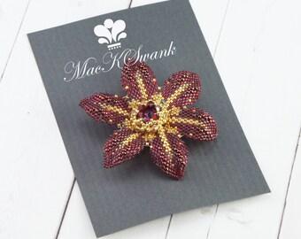 Holiday Bridal Hair Clip - Maroon/Red - Gold - Wedding Hair Clip - Beaded Flower Hair Clip - Bridesmaid Hair Clip