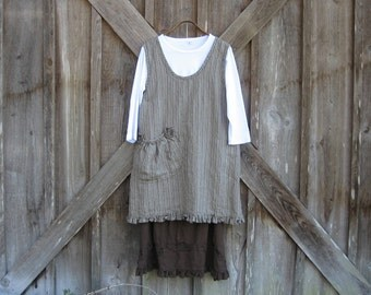 linen jumper pinafore dress tunic smock in brown stripe ready to ship